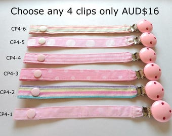 Cotton Strap Pacifier Clip // Pink Wooden Pacifier Clip // dummy clip with strap // baby pacifier clip