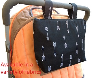 Pram caddy with zipper - pram organiser - mini wet bag - stroller organiser - stroller caddy - diaper bag -black with white arrows