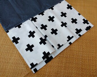 Nappy Wallet with waterproof Change Mat / pad - three or two pockets - Buzoku Cross Cotton Duck Black