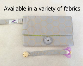 Nappy wallet with waterproof change mat /Pacifier strap/ pad - three  pockets- grey with gold diamond/Multiple pattern available!
