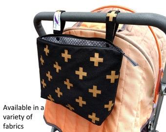 Pram caddy with zipper - pram organiser - mini wet bag - stroller organiser - stroller caddy - diaper bag - Golden Crosses