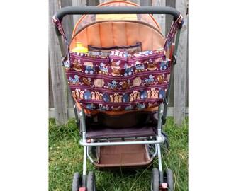 stylish pram caddy /wheelchair bag organiser/ stroller organiser / pram bag -Bunnies and animals in Maroon background