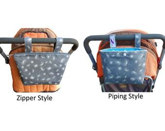 Pram caddy / pram organiser / mini wet bag / Makeup Bag - Montreux Dandelion Drill Grey & White