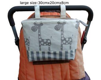 Pram caddy / pram organiser / mini wet bag / Makeup Bag - white with gray giraffes