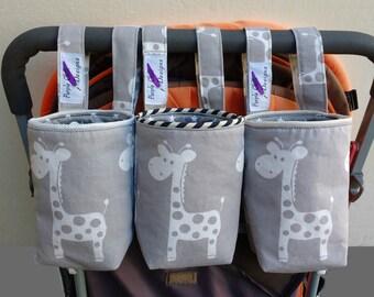 Baby Bottle- Water Bottle Holder for bike,cot & pram/stroller - giraffe-taupe/cream