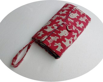 For sale:Nappy Wallet with waterproof Change Mat - three or two pockets-Red with white animals