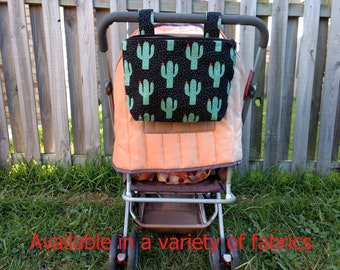 Pram caddy with zipper - pram organiser - mini wet bag - stroller organiser - stroller caddy - diaper bag -cactus