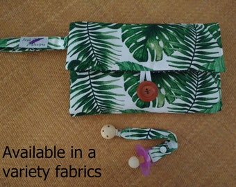 nappy wallet and pacifier strap // diaper wallet // nappy clutch // diaper clutch with waterproof change mat -Multiple patterns available!