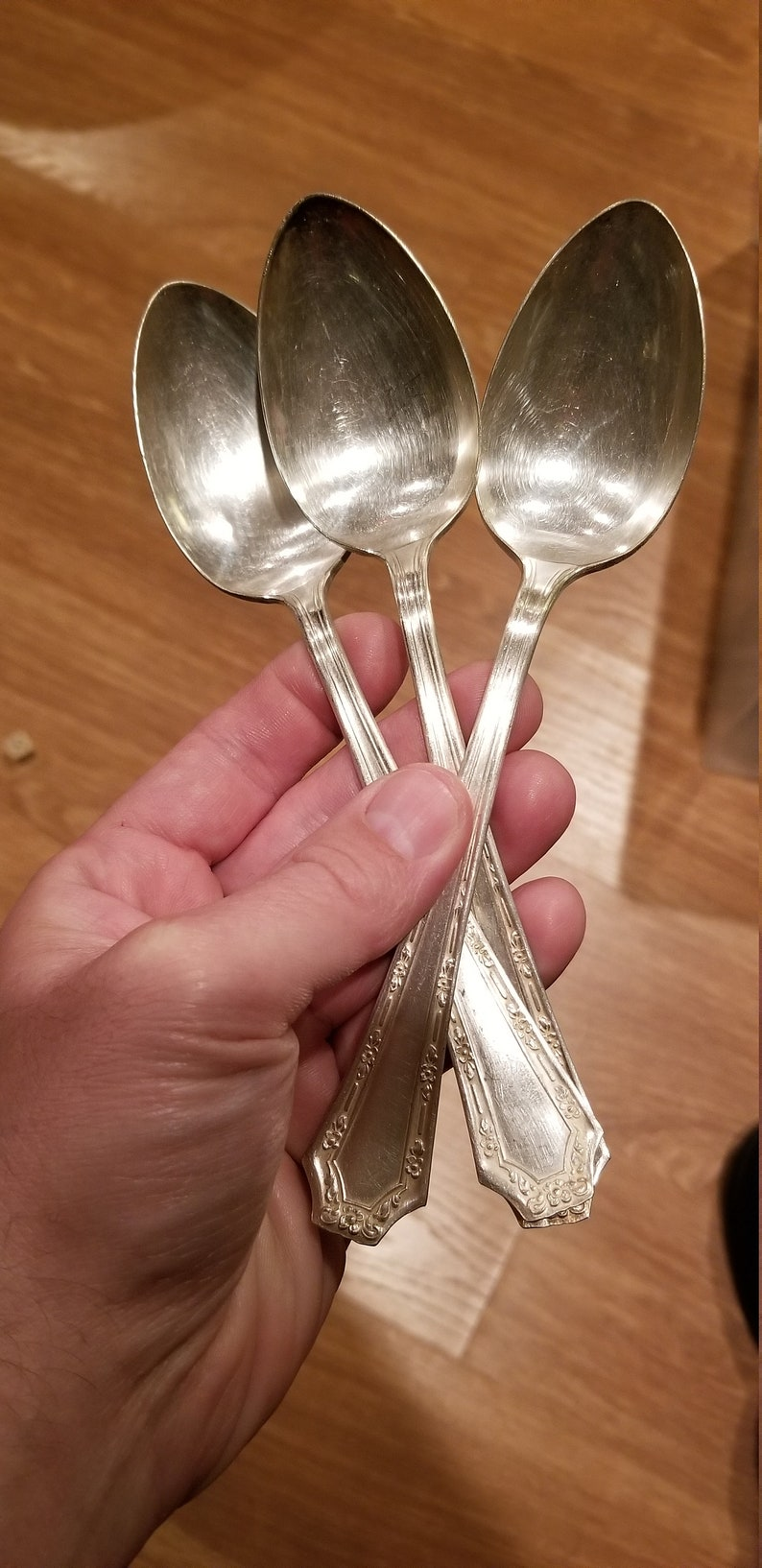 Set of 3 Alpha patter fair field silver plate spoons 7 inches