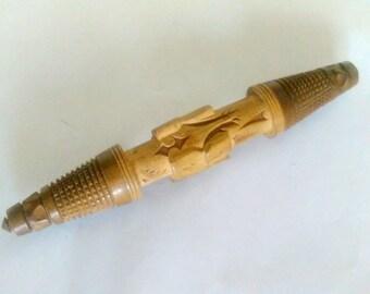 Antique carved wood needle case, etui, vintage sewing needle holder, Black Forest needle holder