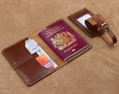 Passport Holder Leather Passport cover with Card Holders Travel Document Wallet Leather Luggage Tag Travel Set