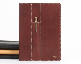 Refillable Leather A5 Traveler's  Notebook,  Personalised Leather Journal with Front Pen Pocket– Brown Goatskin Leather