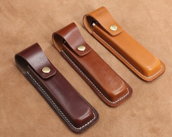 Leather Pencil Case Pen Case Business Pen Case Small Size for 2 Pens