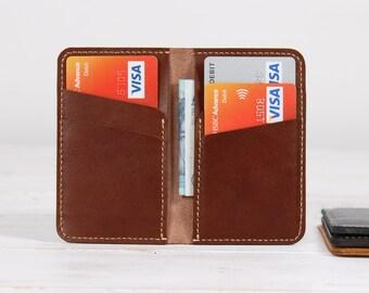 Leather Card Holder Credit Card Holder Mini Pocket Wallet - Brown Leather