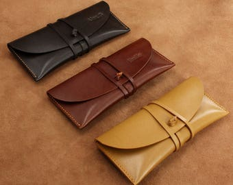 Leather Pencil Case Pen Case Makeup Bag Leather Wallet