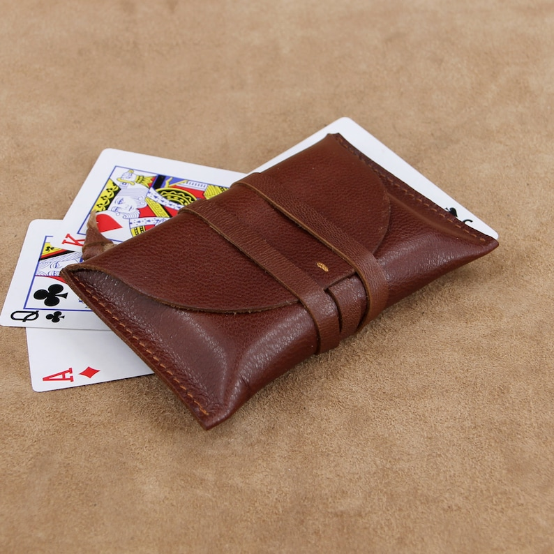 on sale e797c a72b6 Vintage Wrap Style Leather Playing Card Case Poker Card Case Playing Card  Holder Leather Deck Box, Deck Holder