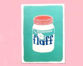 Fluff Risograph Print - Riso, Art Print, Packaging, Vintage, Somerville, Food