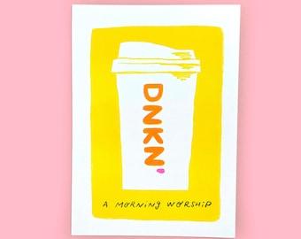 A Morning Worship Risograph Print - New England, Coffee, Dunkin, Boston, Dunks