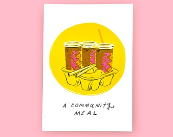 A Community Meal Risograph Print - Coffee, New England, Boston, Dunks, Dunkin