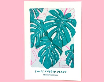 Swiss Cheese Plant Risograph Print (Monstera) - Over it x Plant Magic Collab