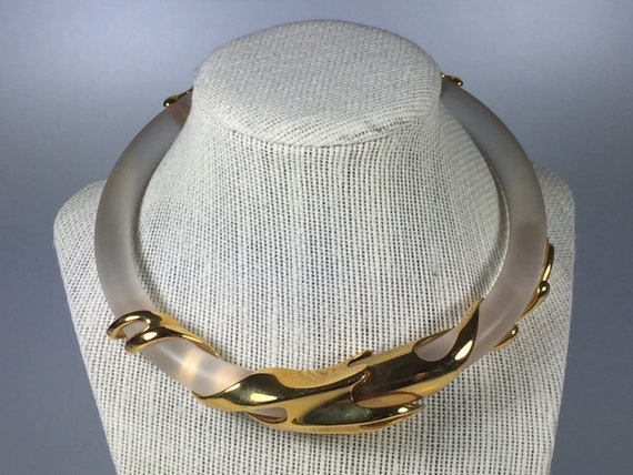 Gold plated lucite choker