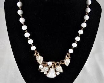Trifari set, necklace and bracelet, white pear set