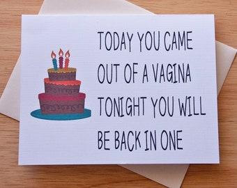 Birthday Card, Vagina Card, Naughty Card, Boyfriend Gift, Card For Boyfriend, Sexual Gift, Boyfriend Birthday, Sex Card, A2 or A7 Card