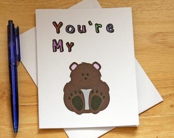 Teddy Bear Card, Cute Card, Love Card, Card For Boyfriend, Card For Husband, Funny Card, Valentine Card, Romantic Card, Birthday Card