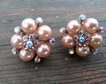 VTG champagne faux pearl and aurora borealis rhinestone pierced earrings