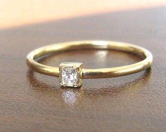 Dainty Engagement Ring Diamond Cut Princess, Tiny Diamond Ring, Diamond Wedding Band, Yellow Gold Ring, Simple Engagement Ring Diamond