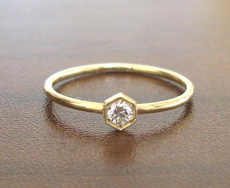 Diamant OrUnique Fiançailles BagueAnneau Jaune PromesseSolitaireModerneModèle Hexagone Bague De thdCxsQr