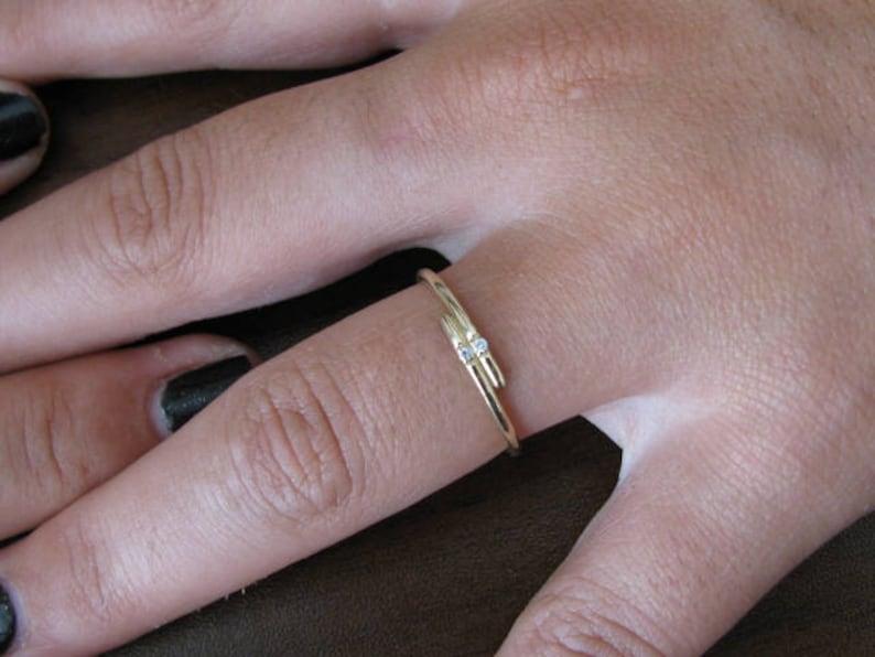 14k Gold Engagement Ring Anniversary Ring Thin Band Diamond Ring Thin Wedding Band Dainty Diamond Ring Stacking Ring