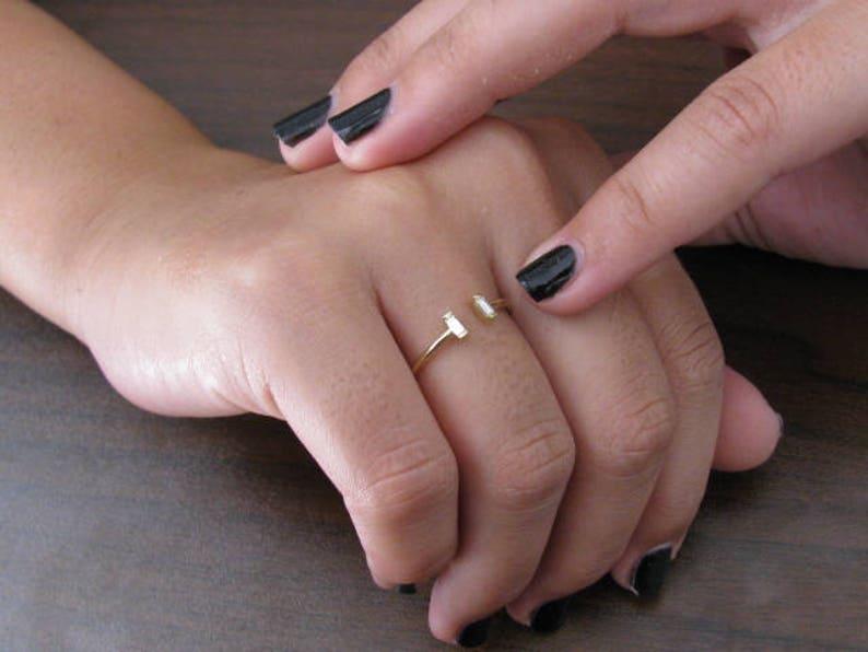 Wedding Ring Diamond Open Ring Baguette Diamond Emerald Cut Diamond Diamond Ring Cut Baguette Ring Diamond Engagement Statement Ring