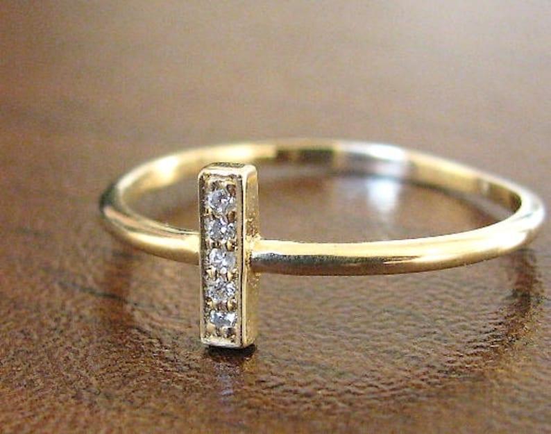 anniversary ring vertical diamond ring pave diamond ring gold bar diamond ring stackable ring 14k gold vertical ring Diamond bar ring