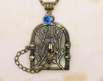 Forest Fairy Door Locket Pendant On Bronze Chain Necklace