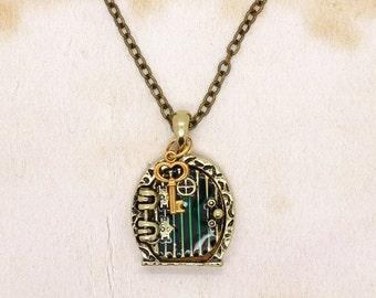 Hobbit Door Necklace Locket Pendant With Key & Shire Map