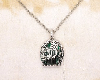 Hobbit Door Pendant With Heart Owl On Silver Tone Chain Necklace