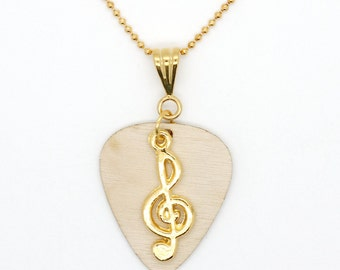 Birch Wood Guitar Pick With Treble Clef Pendant On Gold Plated Chain Necklace