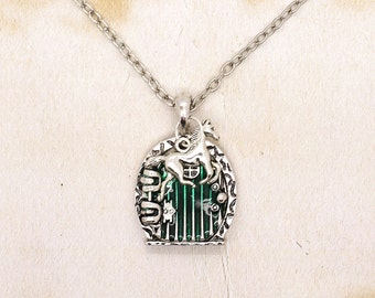 Hobbit Door Pendant With Running Horse On Silver Tone Chain Necklace