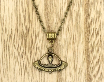 Alien UFO I Want To Believe Pendant on Bronze Chain Necklace X-Files Inspired