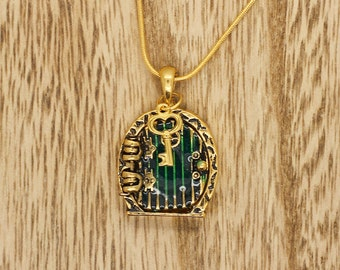 Hobbit Door Snake Chain Necklace Locket Pendant With Key & Shire Map Bright Gold