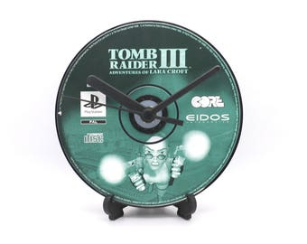 Tomb Raider III (3) PlayStation PS1 Upcycled CD Clock Retro Video Game Gift Idea
