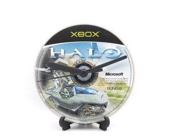 Halo Combat Evolved Xbox Upcycled CD Clock Video Game Collectable Gift Idea