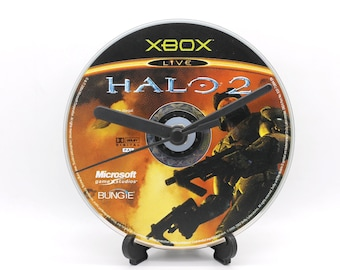 Halo 2 Xbox Upcycled CD Clock Video Game Collectable Gift Idea