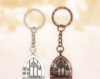 Metal Hobbit Fairy Door Keyring Fantasy Gift Idea Choice of Colour