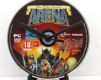 Arena The Elder Scrolls PC Upcycled CD Clock Video Game Gift Idea