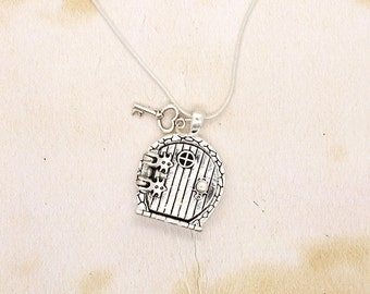 Hobbit Fairy Door Necklace Locket Pendant With Key & Shire Map Brass Antique Silver On Snake Chain