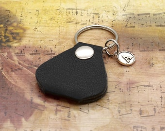 Personalised Guitar Pick Keyring Holder Pouch With Initial