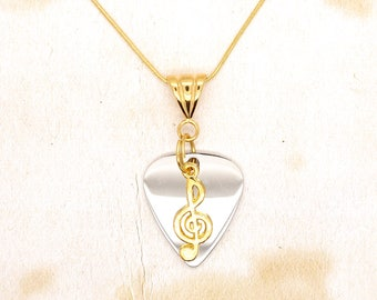 Polished Stainless Steel Guitar Pick With Gold Treble Clef Pendant On Gold Plated Snake Chain Necklace