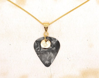 Personalised Guitar Pick With Gold Initial Letter On Gold Plated Snake Chain Necklace
